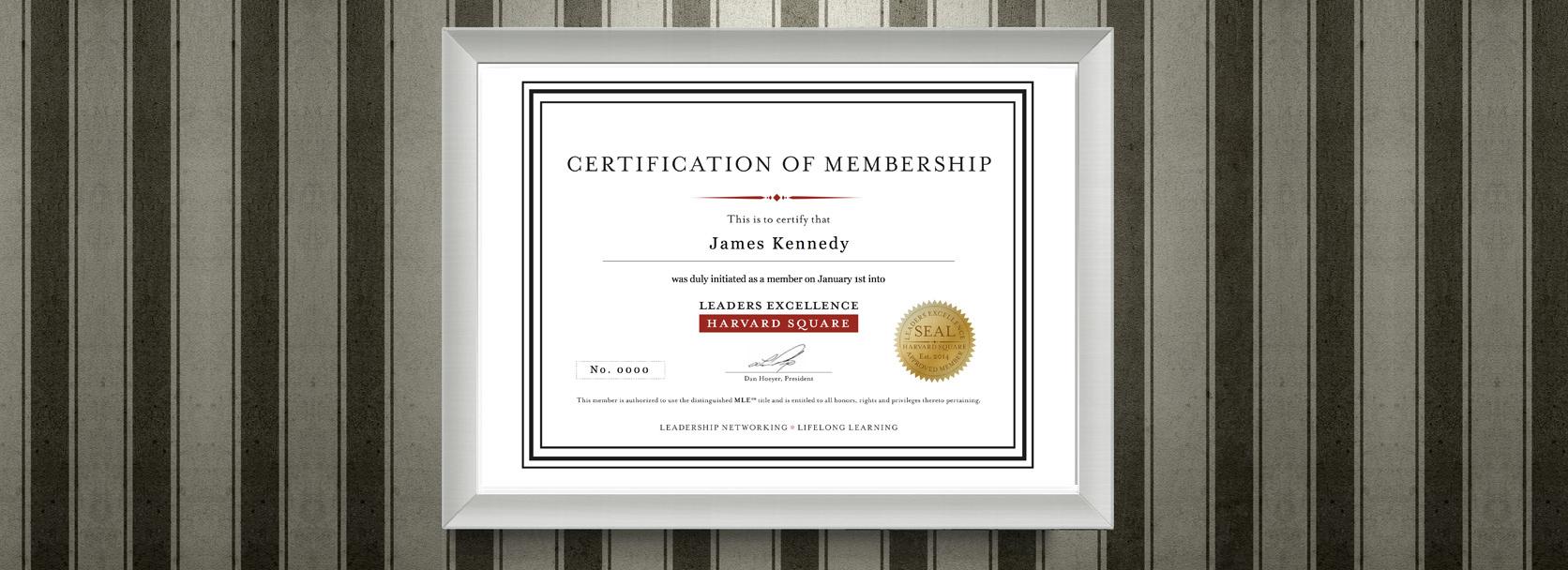 Frameable membership certificate