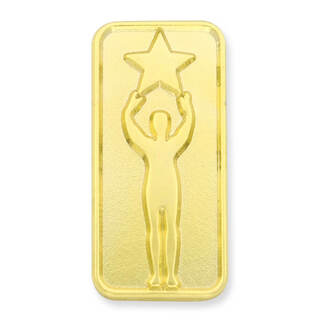Gold plaque with man holding star